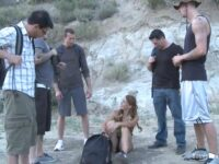Sexy Brunette Raped by a Group of Friends in the Forest